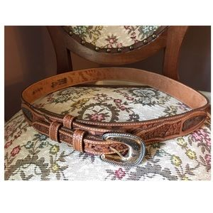 JUSTIN Hand Tooled Western Cognac Leather Belt